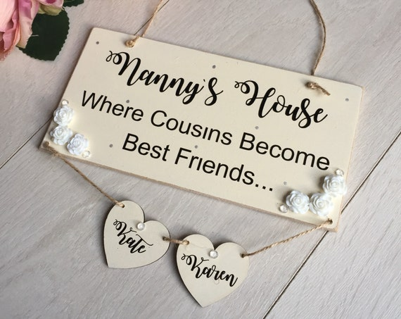 Nannys house plaque, christmas gift for nanny, bday gift for mum mom mam, nana gift, grandma gift, personalised gift from grandchildren