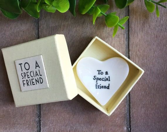 porcelain Special friend trinket dish, christmas gift for friend, jewellery ring dish for best mate