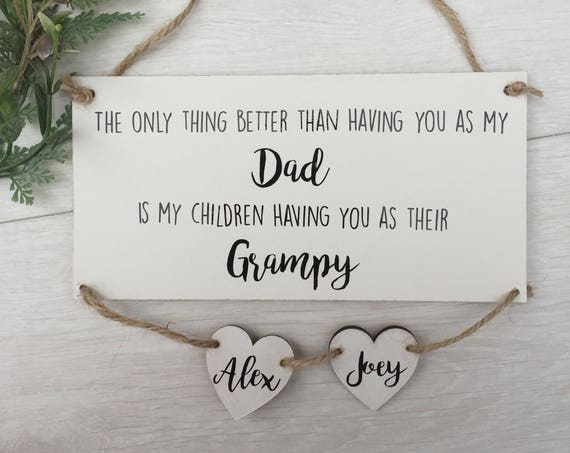 personalised wooden dad sign, christmas gift for grandad, from your grandchildren gift