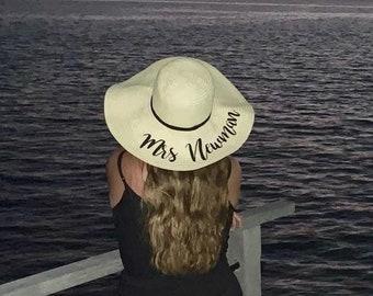 bd3994b4476 Bride personalised beach hat