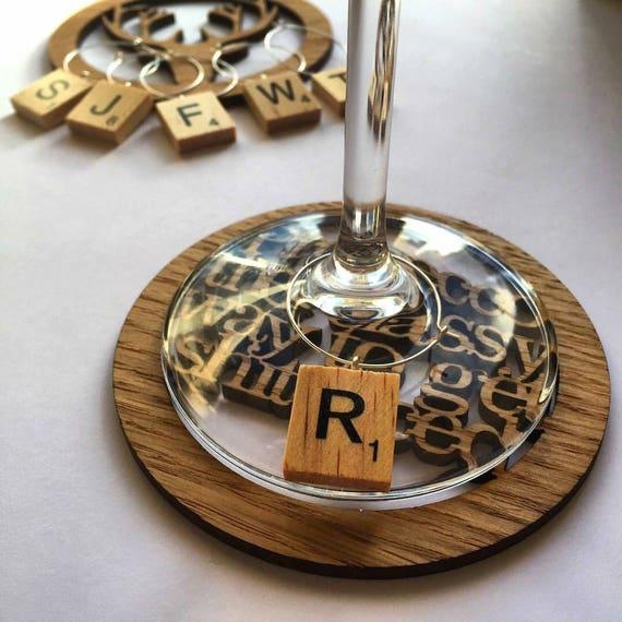 Scrabble tile wine charm