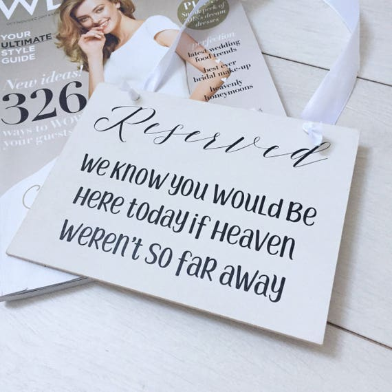 reserved for wedding seat sign