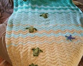 Sea Turtle Blanket (PATTERN ONLY) (includes instructions for blanket turtle and starfish)
