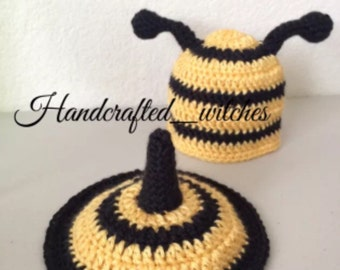 74efe2b05c5 Crocheted baby bumble bee hat and tushie cover