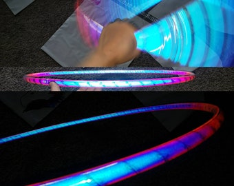 Indigo sunrise Color morph  reflectivehoop of your choice, hdpe, polypro, pe, hula hoop hula Hoop Collapsible Travel with push pin buttons