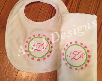 Personalized Bib and Burp Cloth Set