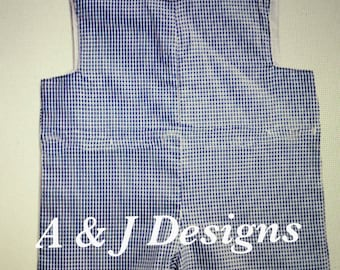 Monogrammed Blue Gingham Short All or Jon Jon