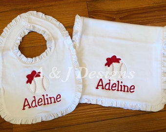 Personalized Ruffle Burp Cloth and Bib Set - Baby Girl Baseball Burp Cloth and Bib Set