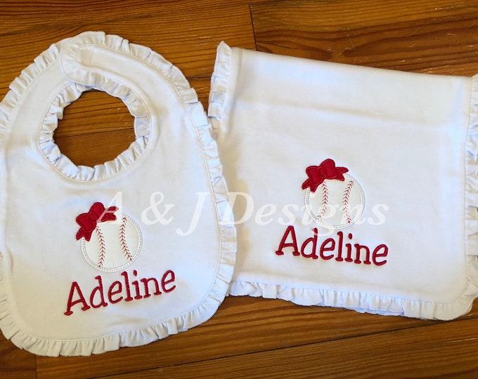 Personalized Ruffle Burp Cloth and Bib Set - Baby Girl Baseball Burp Cloth and Bib Set