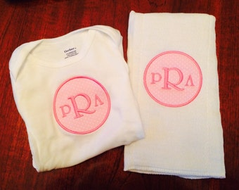 Matching Monogrammed Burp Cloth & Onesie
