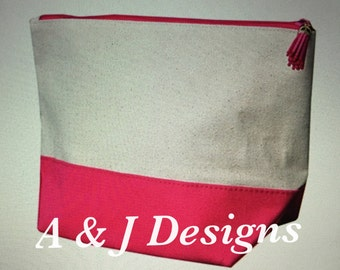 Canvas Cosmetic Bags with Tassel Pull