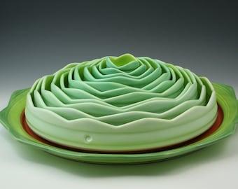 """Nesting Bowls, 12 piece handmade ceramic bowl set, fine art pottery - """"Artichoke"""""""