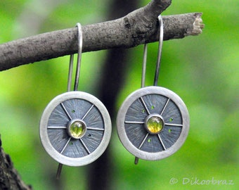 Sterling Silver Earrings Natural Citrine Gemstone Citrus Circle Round Small Art Minimalist Oxidized Silver Earrings Green Accessories