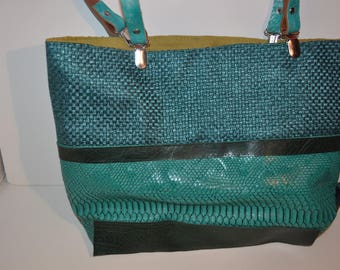 faux leather and emerald green leather tote bag