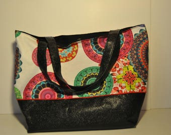bag faux leather bottom black part and part top fabric coated colorful