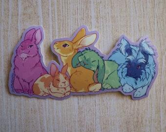 Rainbow Bunnies Glossy Vinyl Sticker