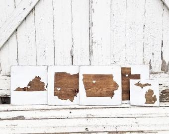 State Sign | Farmhouse Decor | Rustic Decor | Farmhouse Sign | Rustic Sign |  Distressed Sign | Wall Decor | Farmhouse | Custom State