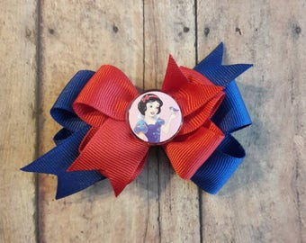 Snow White stacked boutique hair bow.
