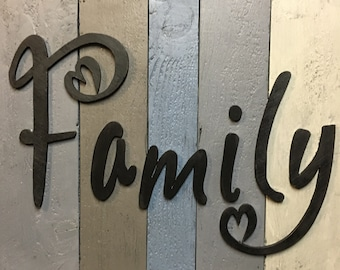 Family Cutout, Family Sign, Wooden Family Sign, Wood Word Cutout, Word Art 3D Cutout Family, Home decor, Family Decor