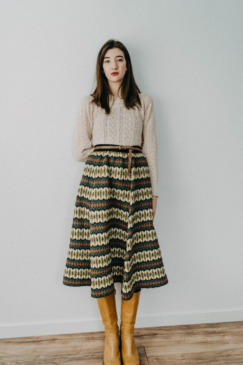 Vintage 50s Swedish Wool Knit Skirt by Jersey Modeller image 0