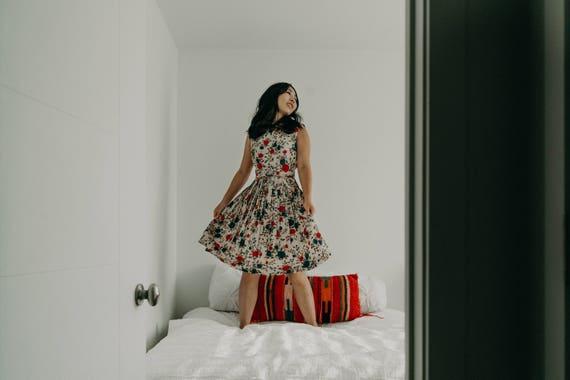 1950s Red & Indigo Floral Summer Day Dress