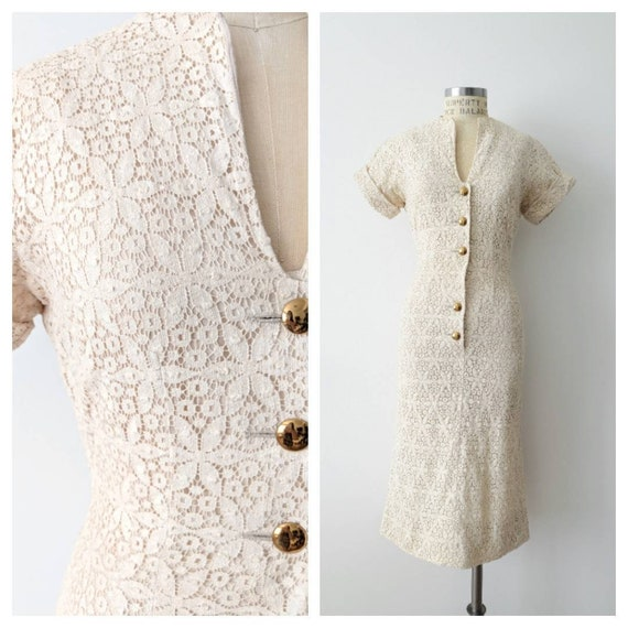 1950s Jack Stern Cream Lace Bombshell Dress
