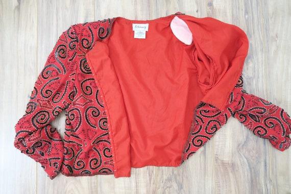 Vintage 90s Stenag Red Beaded Silk Cardigan Jacket