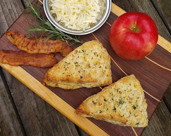 White Cheddar Bacon Apple Scones, Savory Scones, Scones, Apple Bacon Scones,  White Cheddar Scones, Gift for Her, Christmas Gift, 4 scones