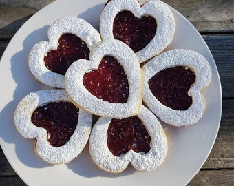 Linzer Shortbread Hearts, Shortbread Hearts, Linzer Cookies, Jam Cookies, Christmas Cookies, Heart Cookies, Shortbread, 12 ea.