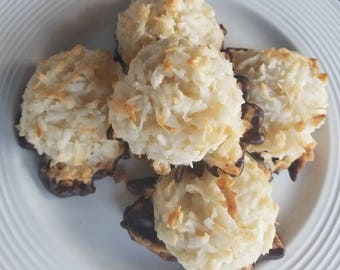 Coconut Macaroons, Macaroons, Gluten Free, Coconut Chew, Chocolate Dipped Macaroons, Father's Day Gift under 20, Gift for Her,  18 ea