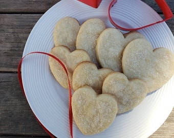 Shortbread Hearts - Shortbread - Valentines Day Cookies - Heart Cookies - Gift for Her - Gift for Mom - Valentines Day - 12 small & 12 large