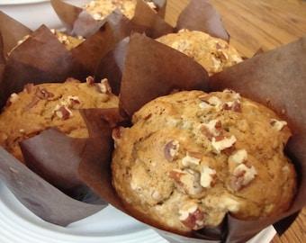 Banana Nut Muffins - Banana Muffins - Pecan Muffins - Breakfast Muffins - Breakfast Bread (6 Jumbo)