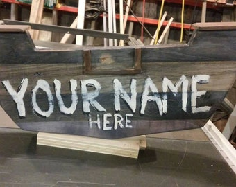 Rustic Lobster House Style Rowboat signs.