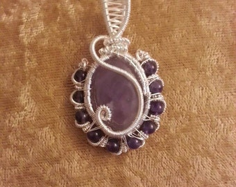 RESERVED- AINGEAL'S second payment  Light Amethyst Amulet Pendant with Dark Amethyst Beads