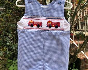 Clothing-Boys Truck Jon Jon-Boys Jon Jon Boys Romper-Trucks-Boys Jumper-Boys Bubble-Overhauls