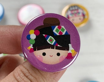 Red Pom Boy 1.25 Button Pin Magnet Hmong, Mien