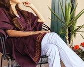 Poncho - Model in Kimono open with belt at the waist / A