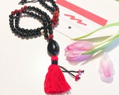Tagua Necklace - Mala Inspired / Red