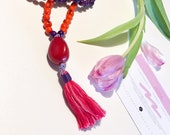 Tagua Necklace - Mala Inspired / Pink