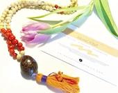 Tagua Necklace - Mala Inspired / Orange
