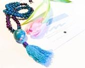 Tagua Necklace - Mala Inspired / Light blue