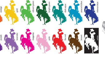"""3"""" Wyoming Cowboys Bucking Horse Vinyl Sticker/Decal (Steamboat) Tall Multiple colors available"""
