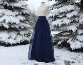 Storm navy chiffon maxi skirt, any length and color Bridesmaid skirt, floor length, tea length, knee length empire waist chiffon skirt