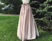 SWISS COFFEE/ CHAMPAGNE chiffon skirt, bridesmaid maxi skirt, floor length, tea length empire waist, maxi skirt, Sash is additional charge