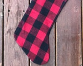 Flannel Christmas stocking, READY TO SHIP- Red and Black buffalo plaid