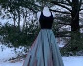 TWO TONED TAFFETA circle skirt, shown in burgundy/jade, made to order