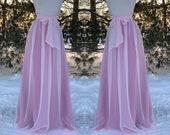 Two tone- Ice Pink chiffon over Daphne rose satin skirt, any length and color Bridesmaid skirt, floor length, tea length