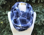 Blue plaid flannel infinty scarf- cozy, warm, white