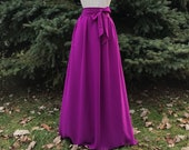 RADIANT VIOLET GEORGETTE chiffon skirt, any length and color Bridesmaid skirt, floor length, knee length empire waist grey chiffon skirt
