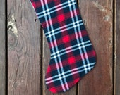 Plaid flannel Christmas stocking, READY TO SHIP- red white blue